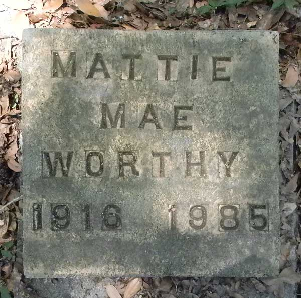 Mattie Mae Worthy Gravestone Photo