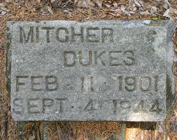 Mitcher Dukes Gravestone Photo