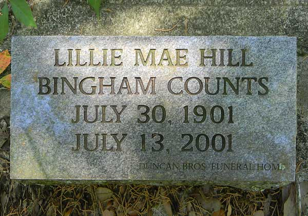 Lillie Mae Hill Bingham Counts Gravestone Photo