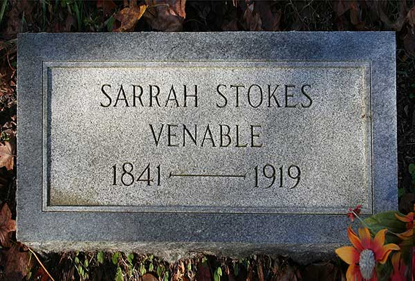Sarrah Stokes Venable Gravestone Photo