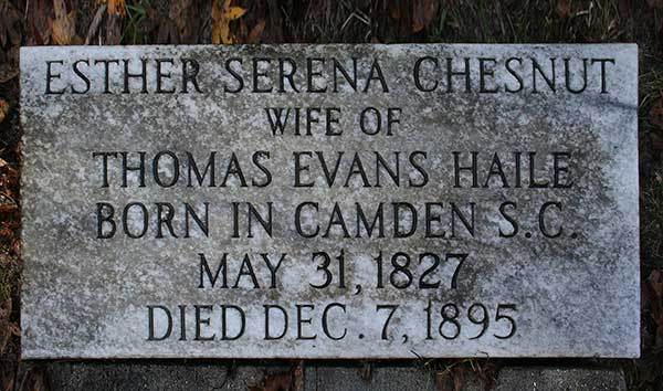 Esther Serena Chesnut Haile Gravestone Photo