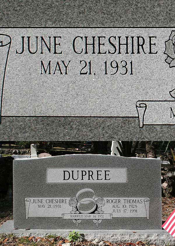 June Cheshire Dupree Gravestone Photo