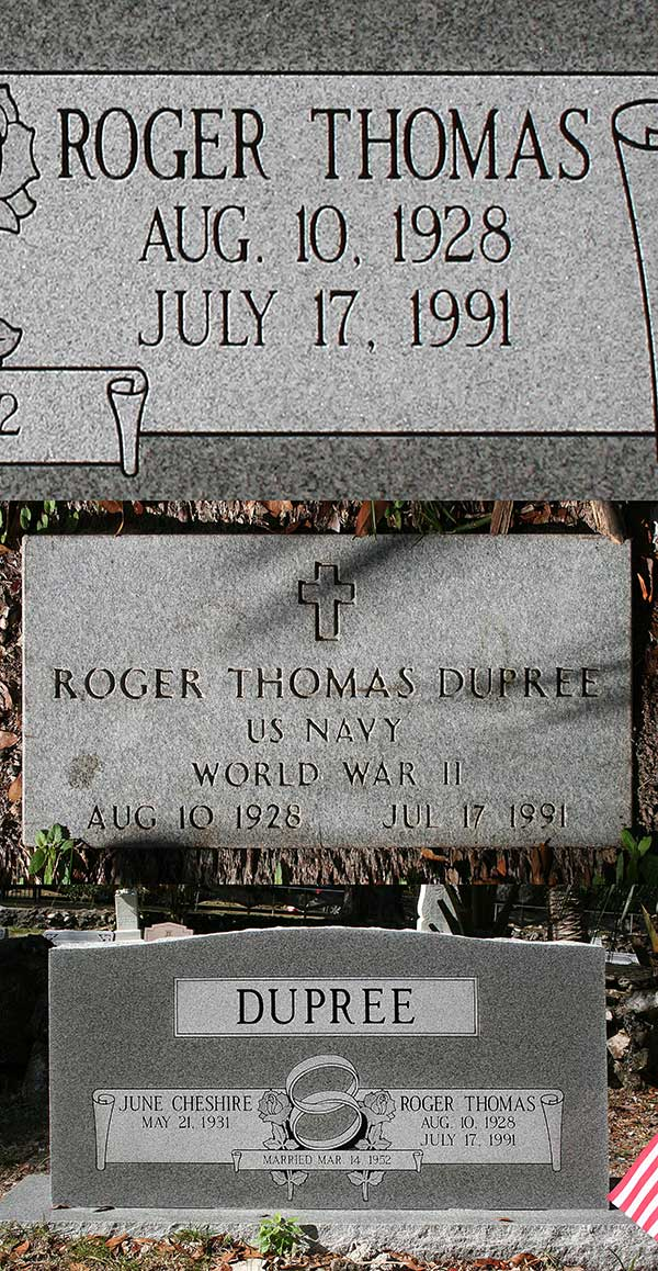 Roger Thomas Dupree Gravestone Photo