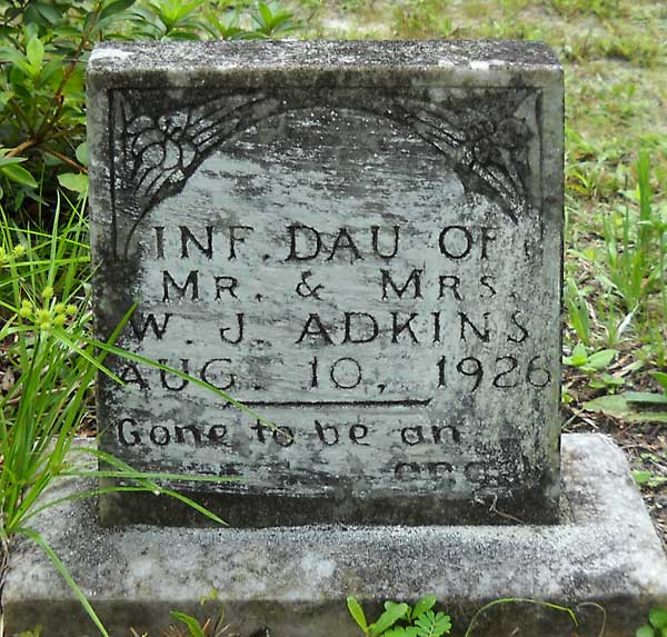 Infant Daughter Adkins Gravestone Photo