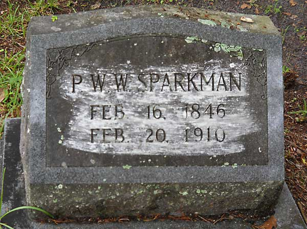 P. W. W. Sparkman Gravestone Photo