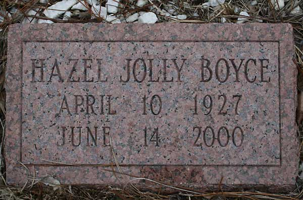 Hazel Jolly Boyce Gravestone Photo