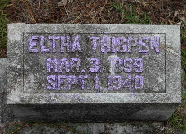Eltha Thigpen Gravestone Photo