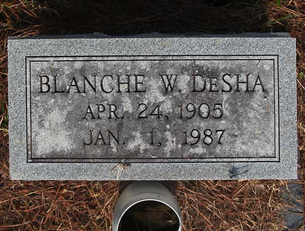 Blanche W. DeSha Gravestone Photo