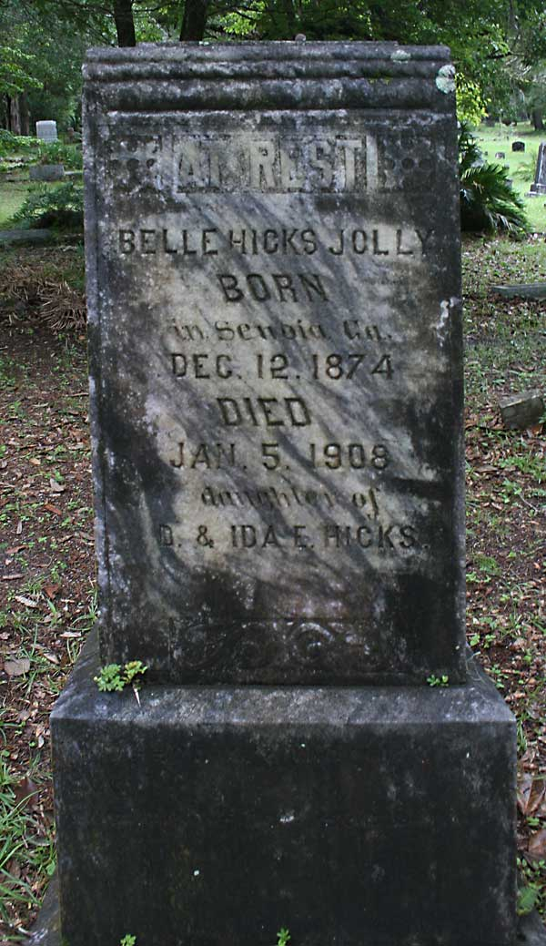 Belle Hicks Jolly Gravestone Photo