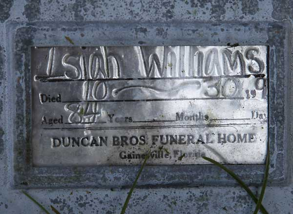 Isiah Williams Gravestone Photo