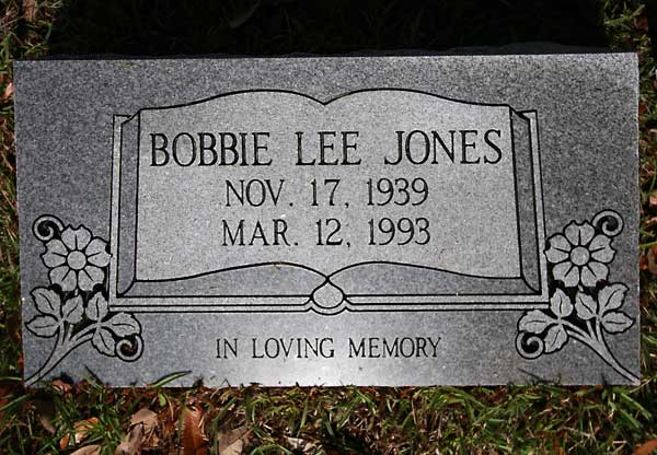 Bobbie Lee Jones Gravestone Photo