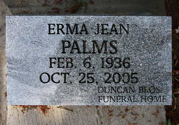 Erma Jean Palms Gravestone Photo