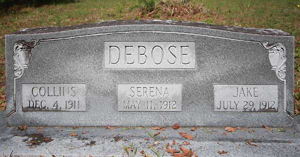 Collins & Serena & Jake DeBose Gravestone Photo