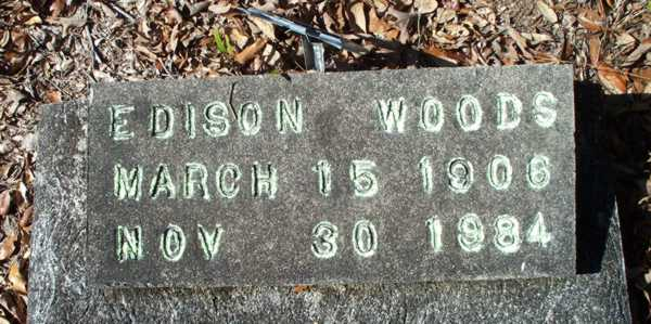 Edison Woods Gravestone Photo