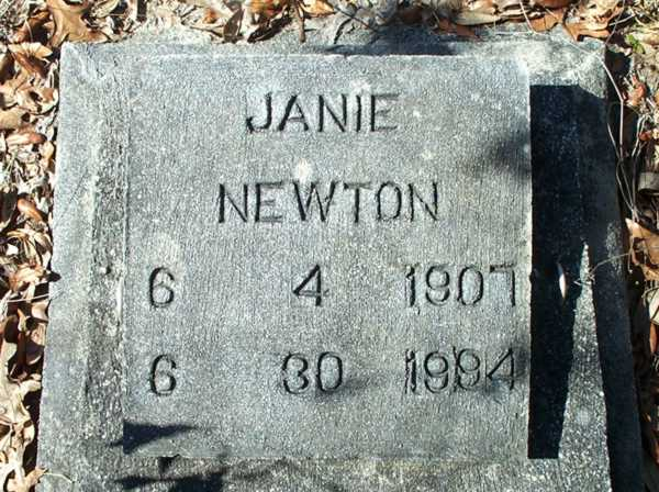 Janie Newton Gravestone Photo