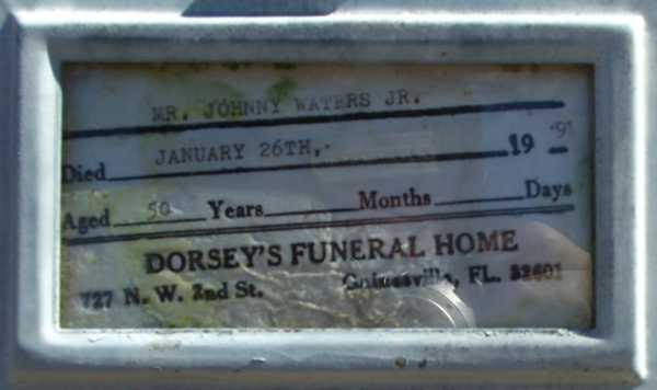 Johnny Waters Gravestone Photo