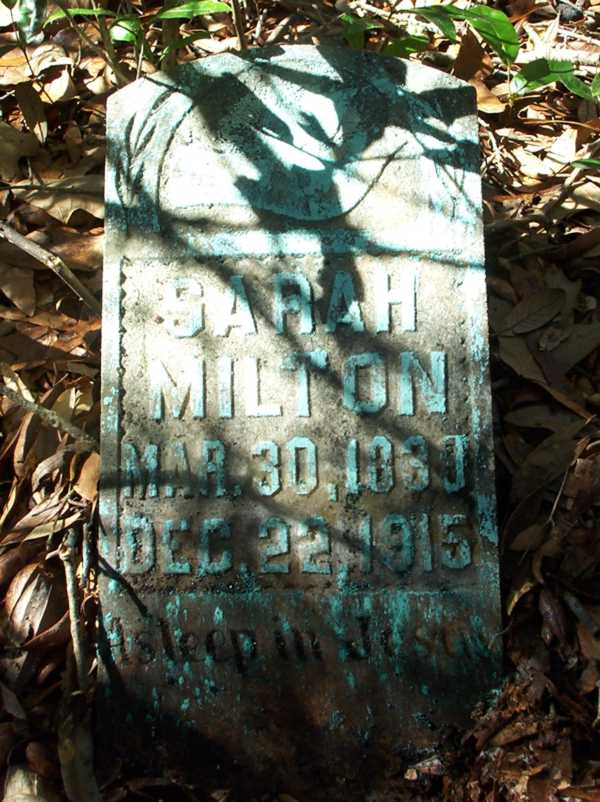 Sarah Milton Gravestone Photo