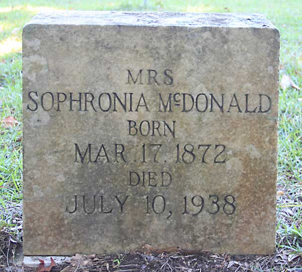 Sophronia McDonald Gravestone Photo