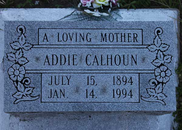 Addie Calhoun Gravestone Photo
