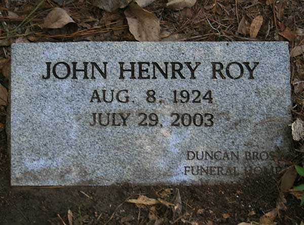 John Henry Roy Gravestone Photo