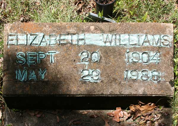 Elizabeth Williams Gravestone Photo