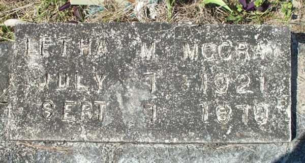 Letha M. McCray Gravestone Photo
