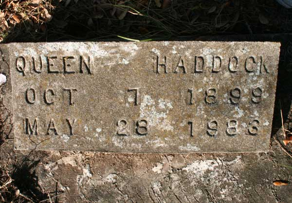 Queen Haddock Gravestone Photo