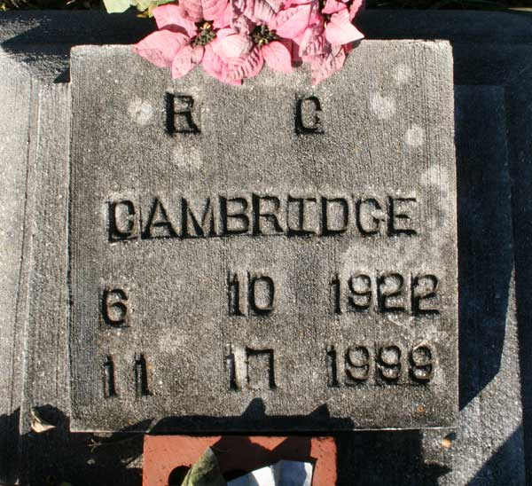 R.C. Cambridge Gravestone Photo
