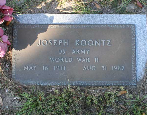 Joseph Koontz Gravestone Photo