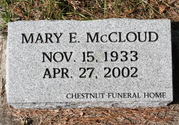 Mary E. McCloud Gravestone Photo