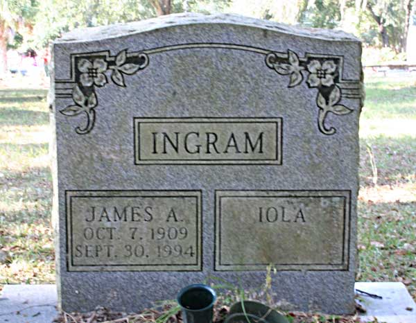 James A. & Iola Ingram Gravestone Photo