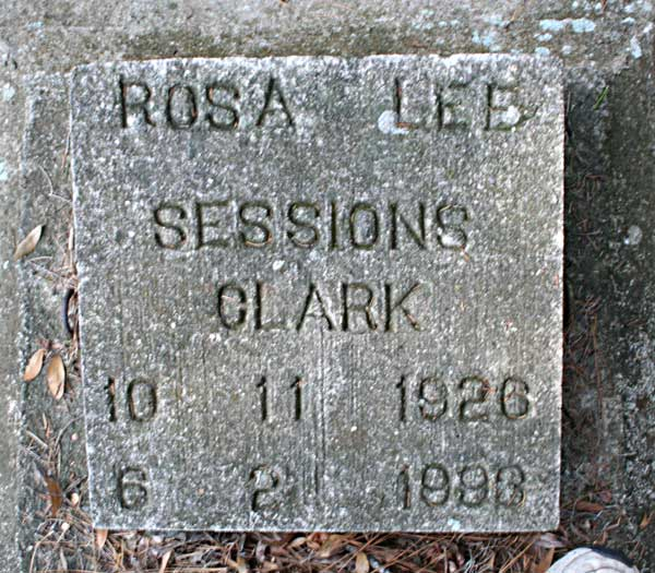 Rosa Lee Sessions Clark Gravestone Photo
