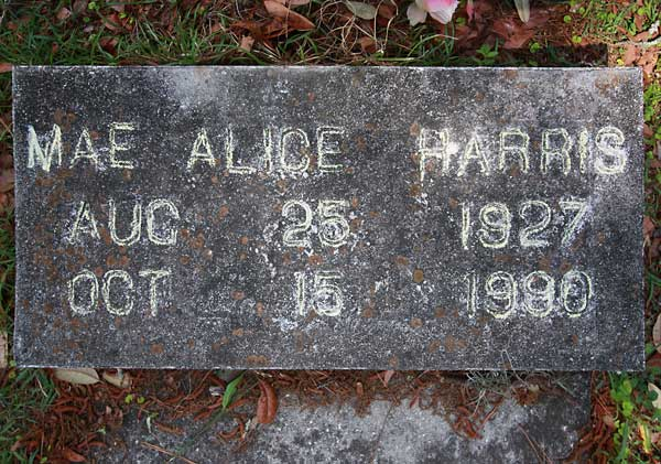 Mae Alice Harris Gravestone Photo