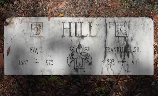 Eva J & Franklin J. Sr. Hill Gravestone Photo