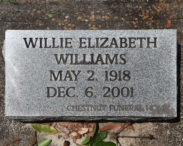 Willie Elizabeth Williams Gravestone Photo