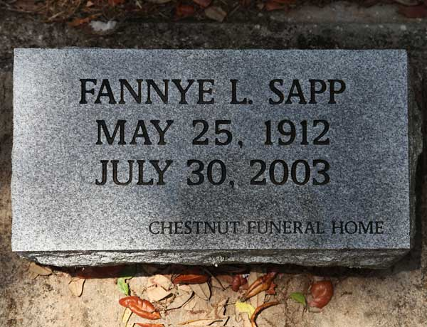 Fannye  L. Sapp Gravestone Photo