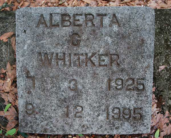 Alberta G. Whitker Gravestone Photo