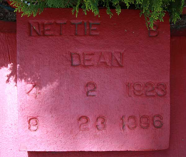 Nettie Dean Gravestone Photo