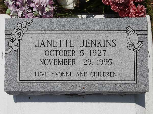 Janette Jenkins Gravestone Photo