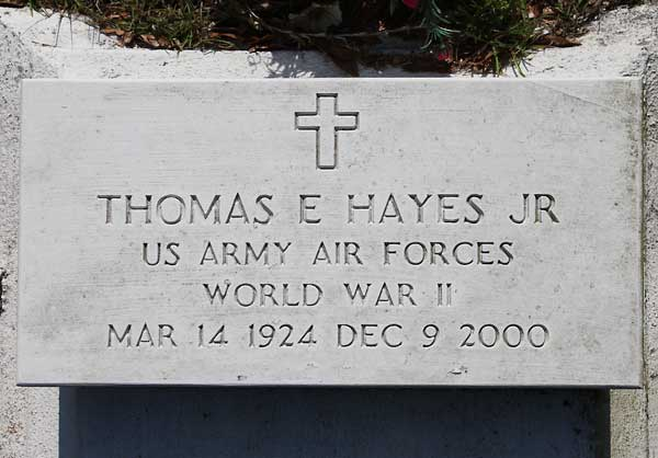 Thomas E. Hayes Gravestone Photo
