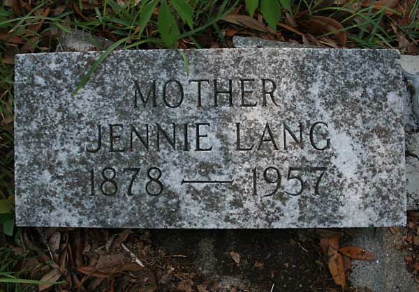Jennie Lang Gravestone Photo