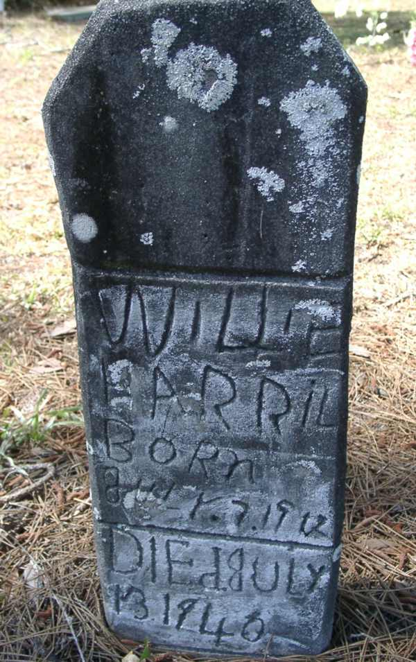 Willie Harril Gravestone Photo