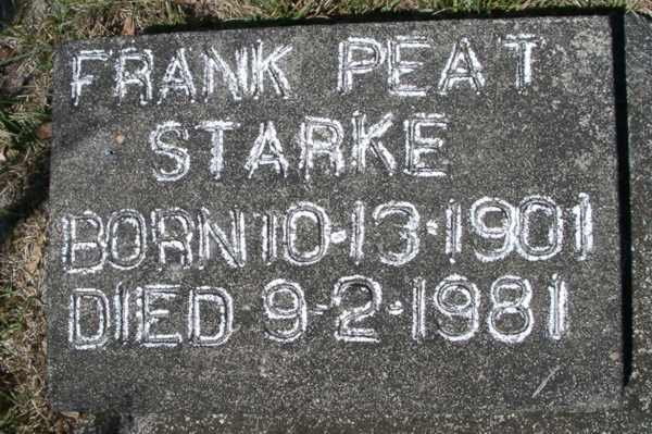 Frank Peat Starke Gravestone Photo