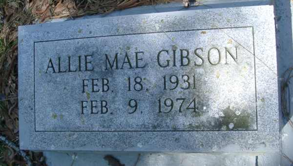 Allie Mae Gibson Gravestone Photo