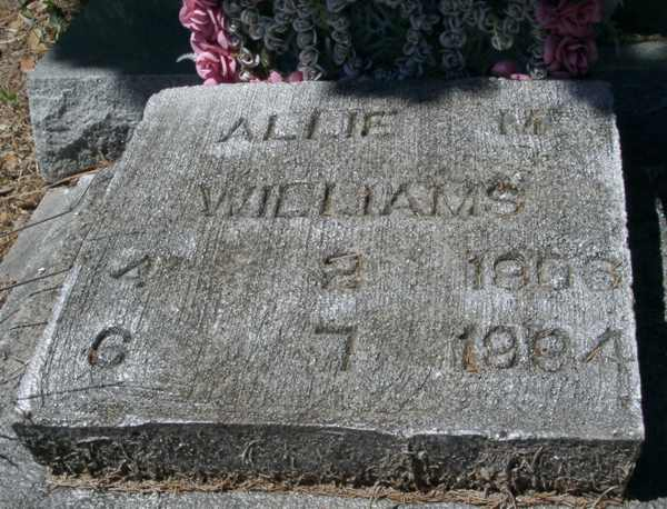 Allie M. Williams Gravestone Photo