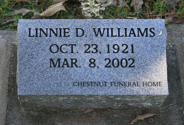LINNIE D. WILLIAMS Gravestone Photo