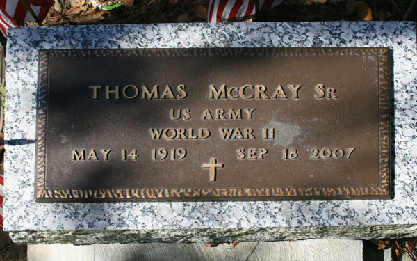 THOMAS McCRAY Gravestone Photo