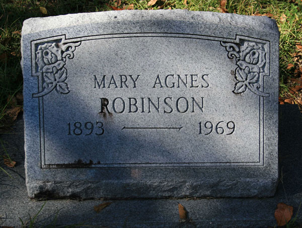 MARY AGNES ROBINSON Gravestone Photo