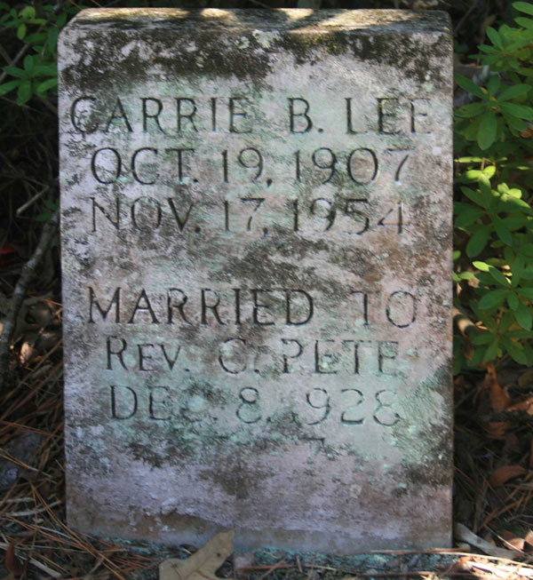 CARRIE B. LEE-PETE Gravestone Photo