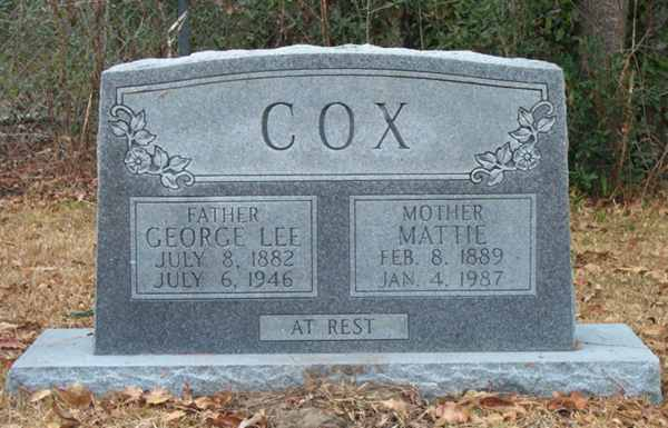 George Lee & Mattie Cox Gravestone Photo